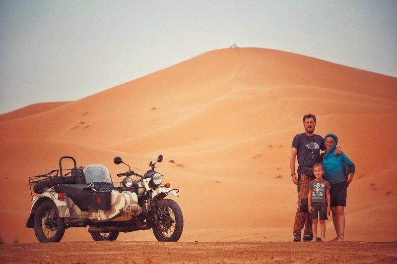 Family picture at Merzouga, Morocco.