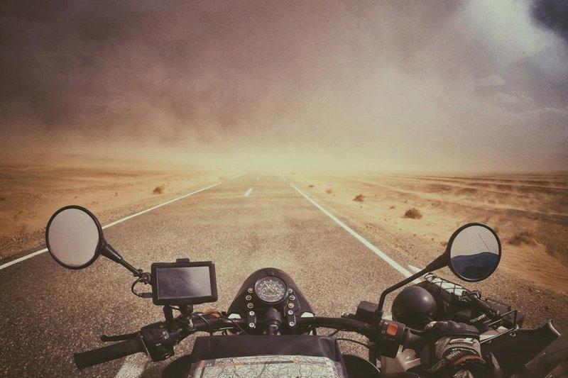 Sand storm in the Sahara desert, Morocco.
