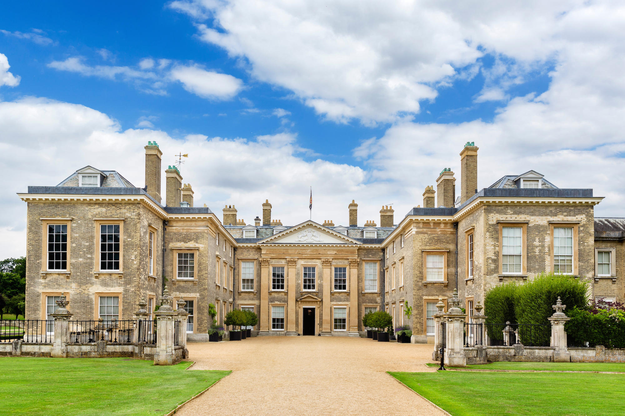 The front of Althorp house, seat of Earl Spencer and childhood home of Diana Princess of Wales, Northamptonshire, England, UK