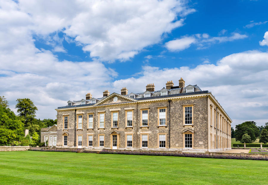 The rear of Althorp house, seat of Earl Spencer and childhood home of Diana Princess of Wales, Northamptonshire, England, UK
