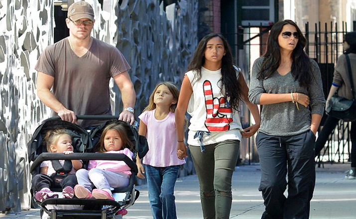 Matt Damon takes his girls to the playground in NYC