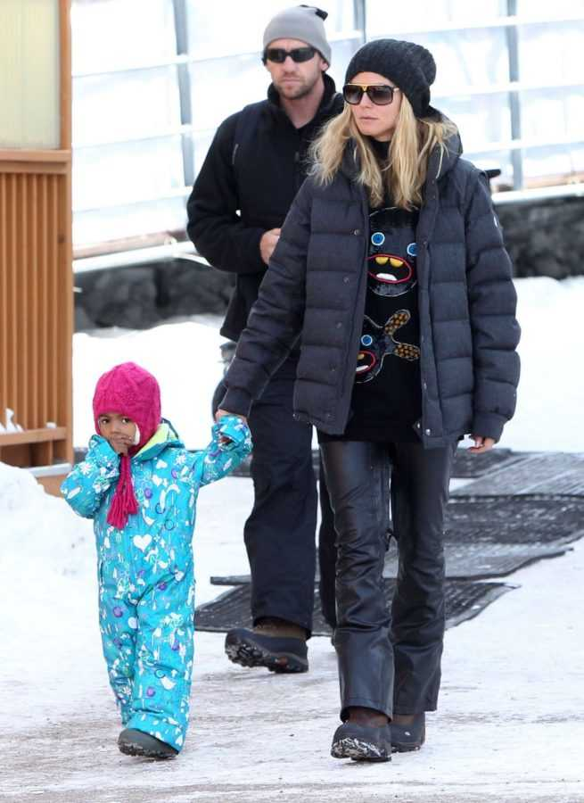 Heide Klum, Seal  And The Kids Have A Blast On The Slopes In Aspen