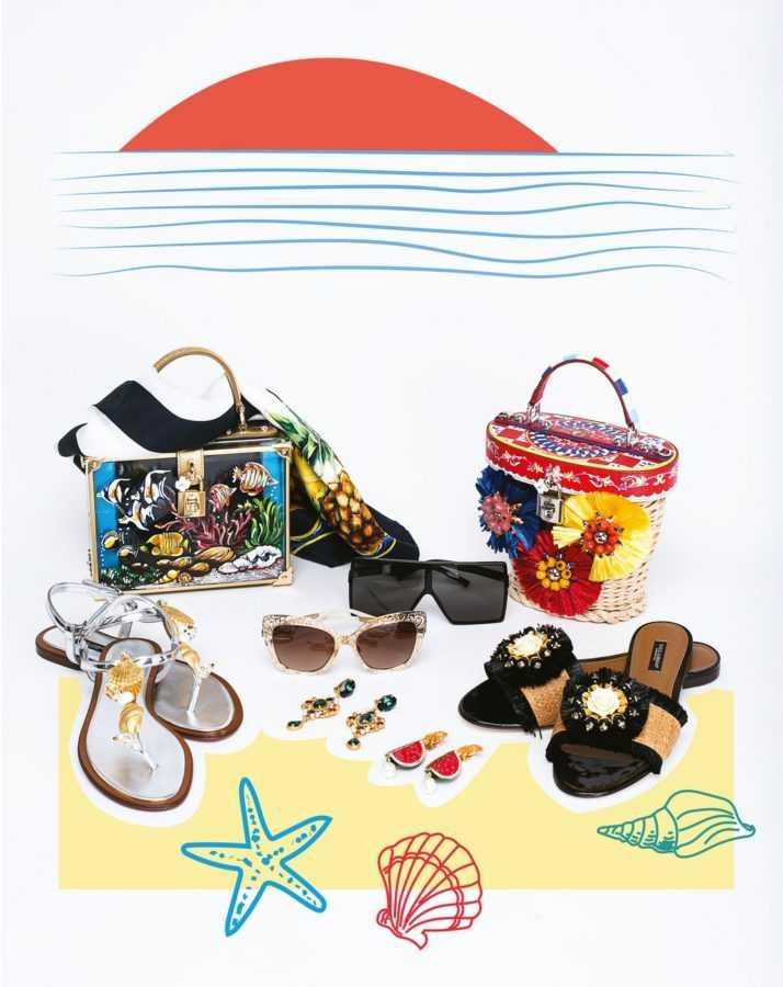 Сумки, платок, босоножки, шлепанцы, очки Dolce & Gabbana, очки справа Saint Laurent