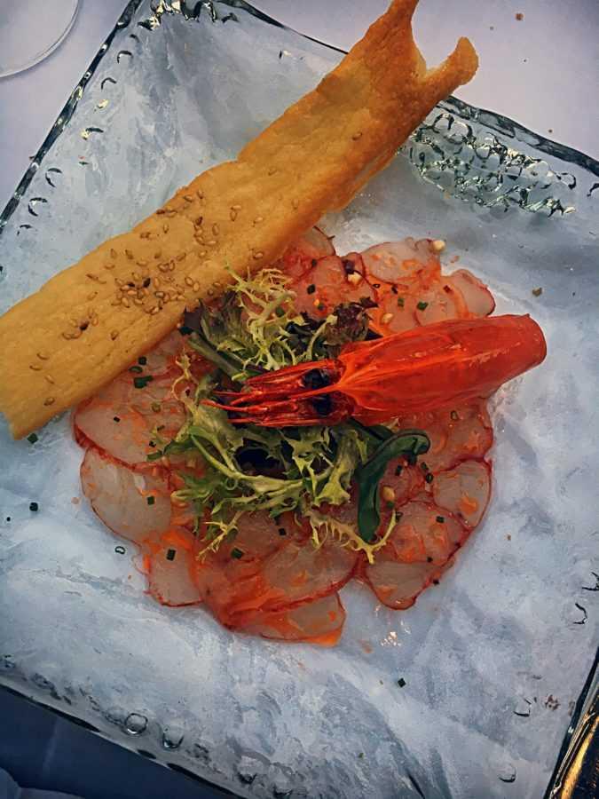 Карпаччо из креветок, ресторан Goya
