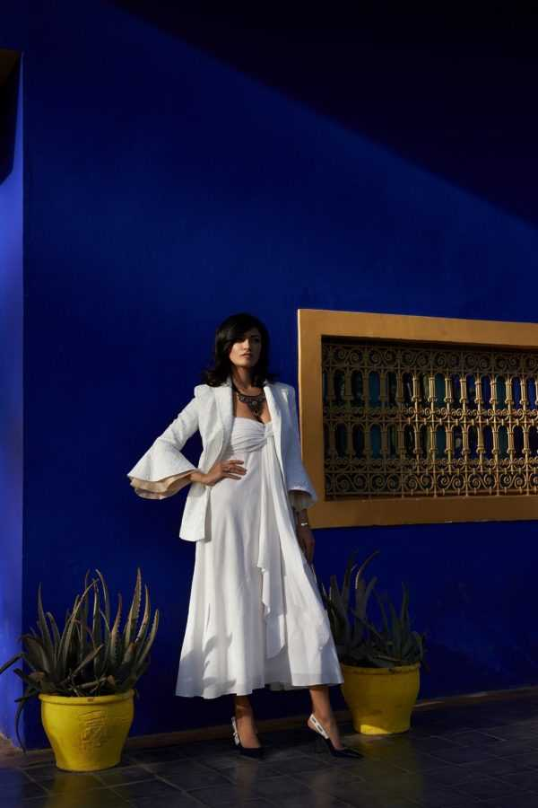 Жакет Katerina Rutman Платье Flow The Label Туфли Christian Dior Колье Be in Touch La Mamounia Локация: сад Мажорель, Марракеш, Марокко