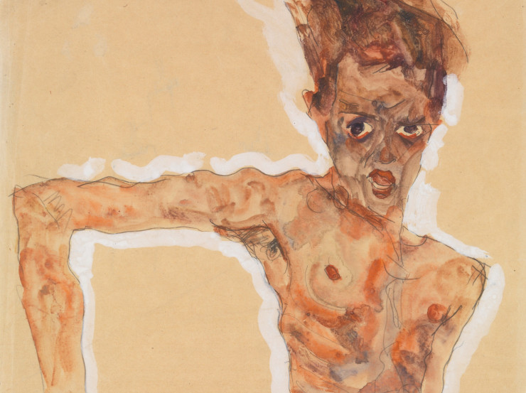 Egon Schiele, Seated Male Nude (Self-Portrait)