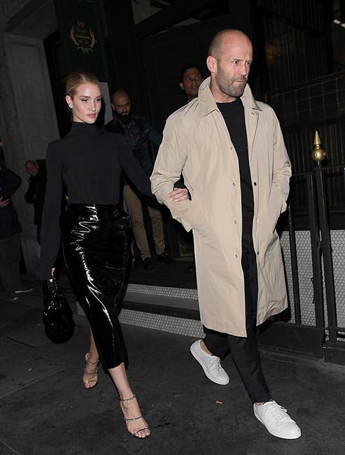 jason statham and rosie huntington whiteley leaving gymkhana restaurant London