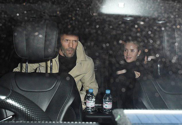 Rosie Huntington-Whiteley and Jason Statham seen leaving Gymkhana restaurant in London