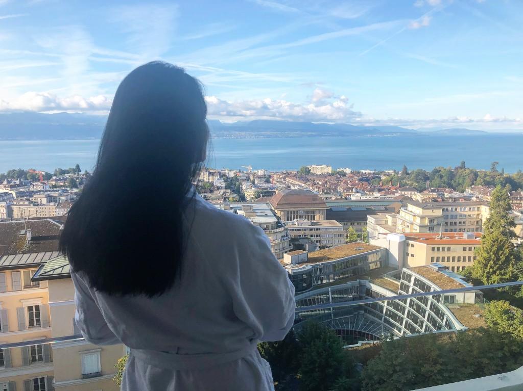 Вид из номера отеля Lausanne Palace
