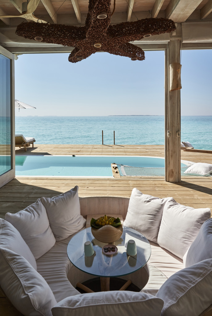 Soneva Jani, Water Retreat livingroom view by Burak Issevan