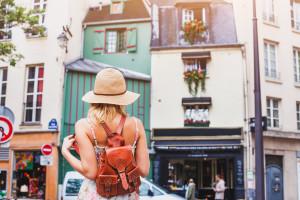tourist in european city, summer travel, holidays