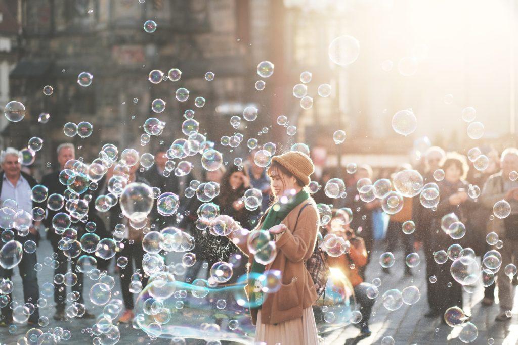 счастье, мыльные пузыри, happy