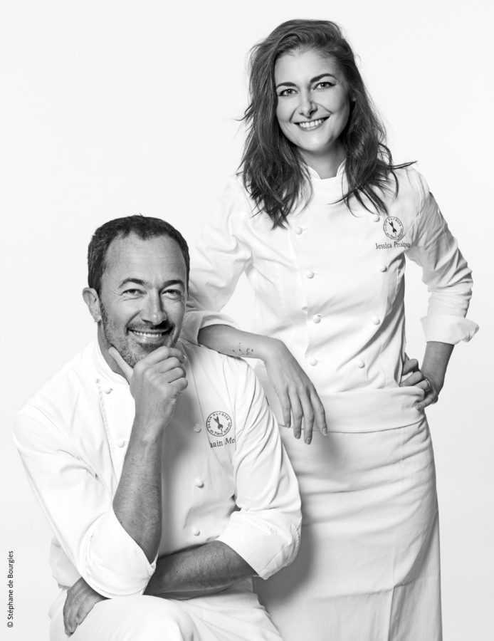 Шеф-повар ресторана Alain Ducasse au Plaza Athénée Ромен Медер и Джессика Преальпато