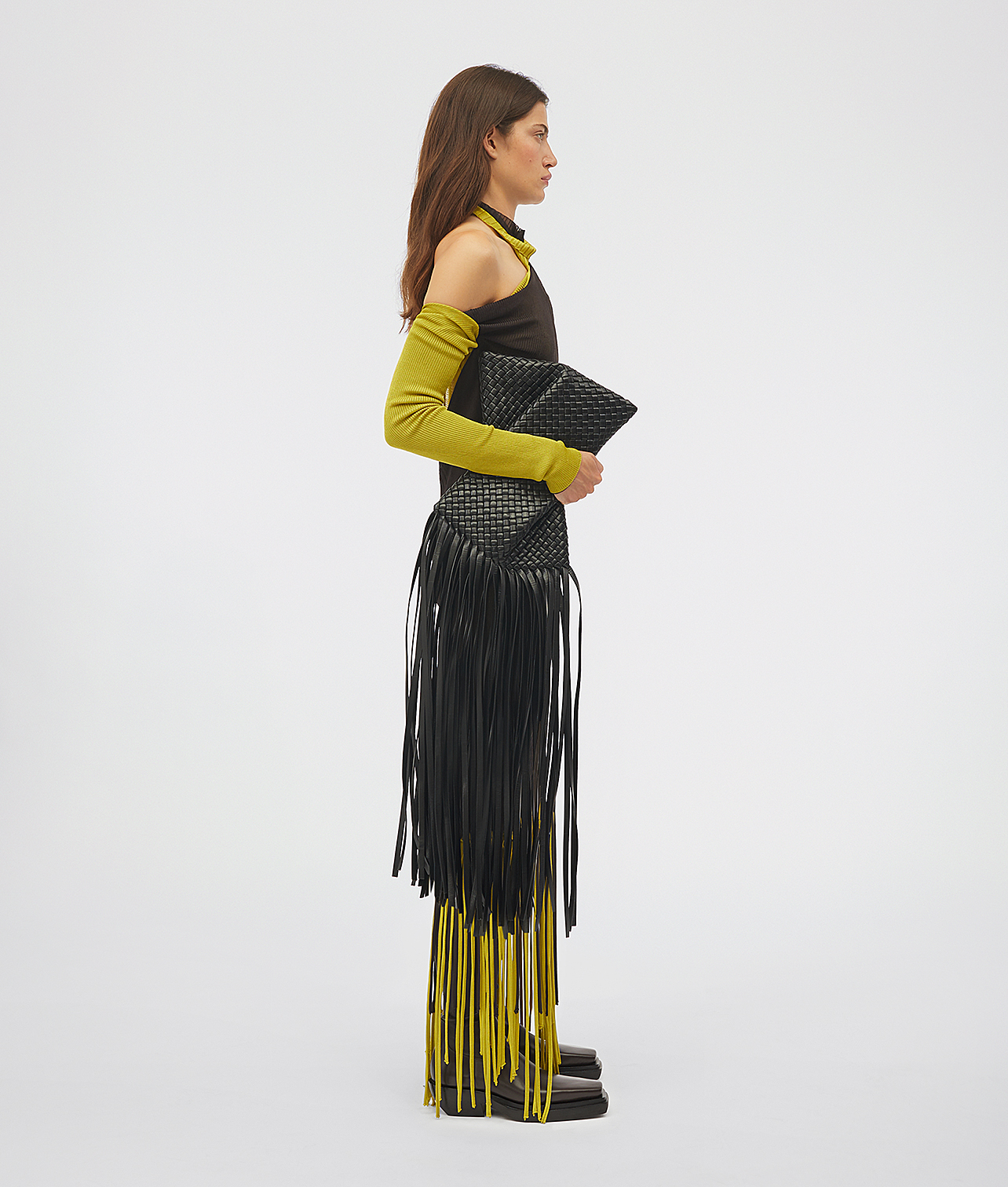 Платье, сумка Bottega Veneta