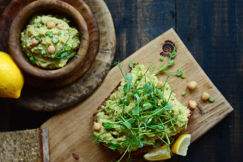 Сендвичи с нутом и авокадо Завтрак для вегана